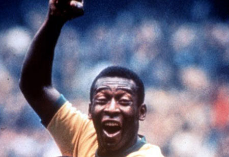 Pele scores the winner at the 1970 World Cup in Mexico