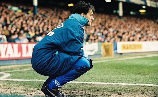 Pat Nevin watches from the touchline as Everton play QPR. Image via Flick photograph by jims_pics